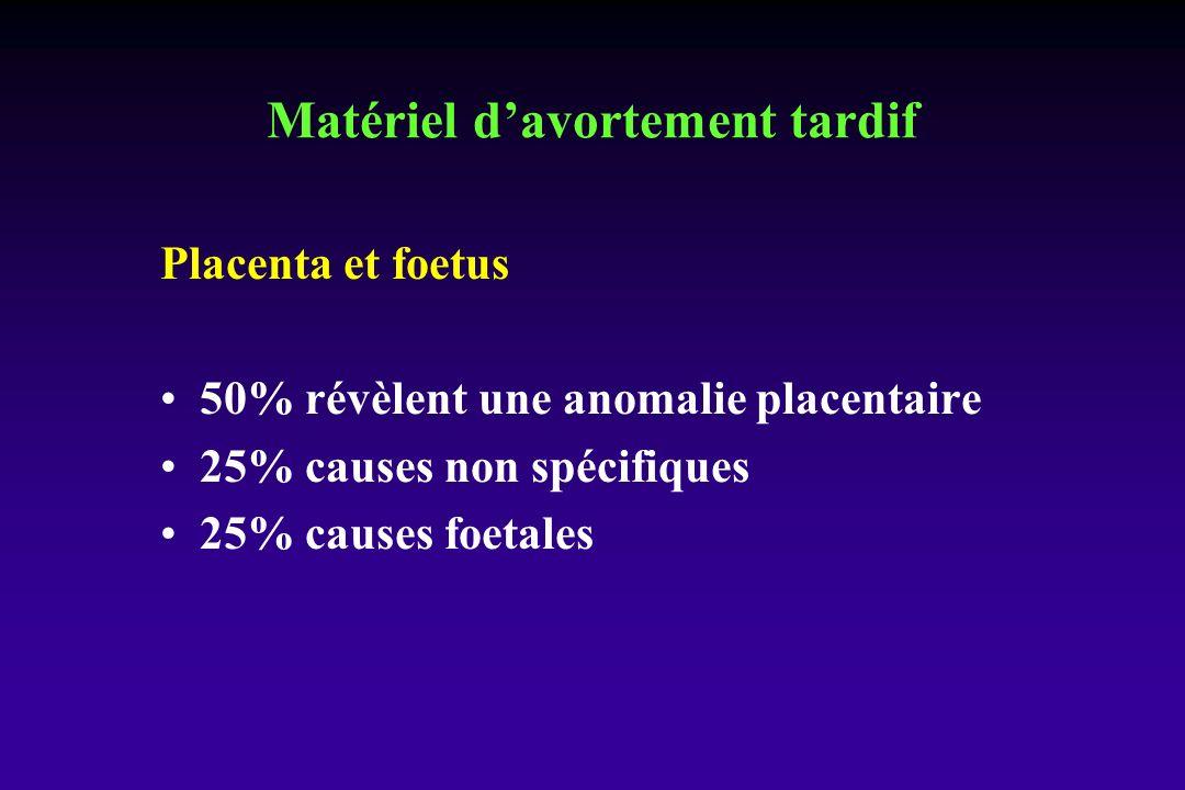 Placenta et foetus 50% révèlent une anomalie placentaire 25% causes non spécifiques 25% causes foetales Matériel davortement tardif