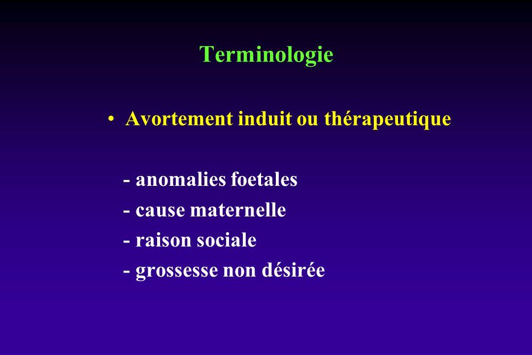 Avortement induit ou thérapeutique - anomalies foetales - cause maternelle - raison sociale - grossesse non désirée Terminologie