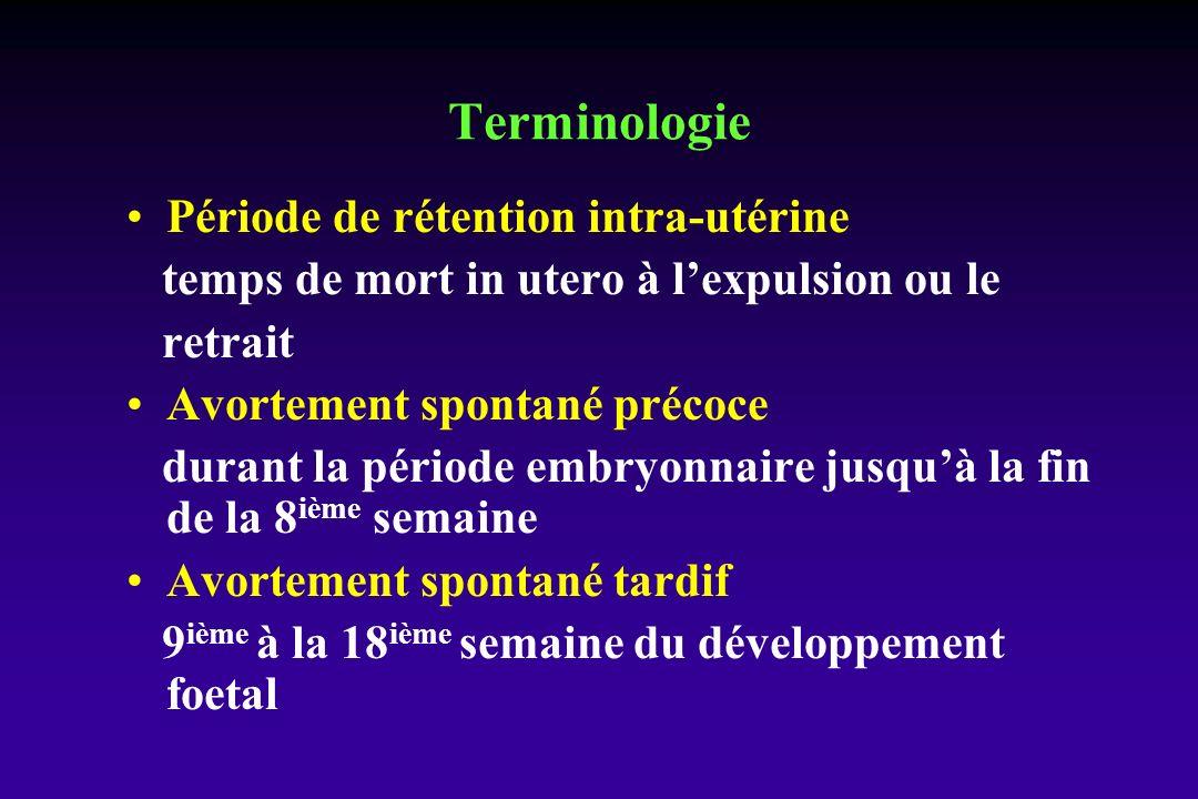 Période de rétention intra-utérine temps de mort in utero à lexpulsion ou le retrait Avortement spontané précoce durant la période embryonnaire jusquà