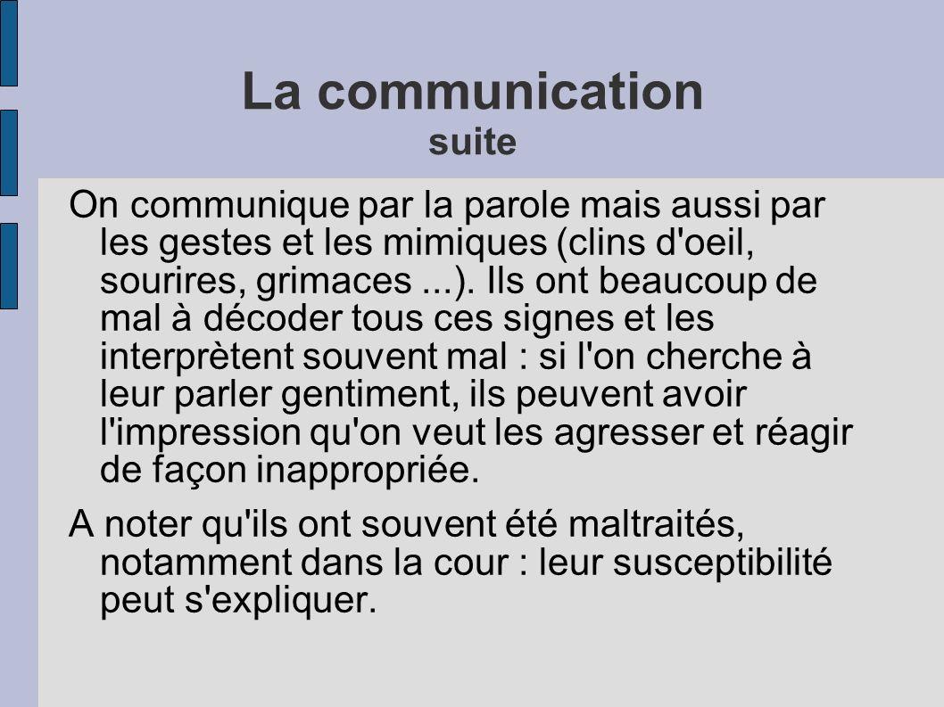 La communication suite On communique par la parole mais aussi par les gestes et les mimiques (clins d oeil, sourires, grimaces...).