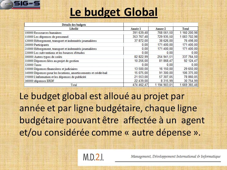 Le budget Global Le budget global est alloué au projet par année et par ligne budgétaire, chaque ligne budgétaire pouvant être affectée à un agent et/ou considérée comme « autre dépense ».