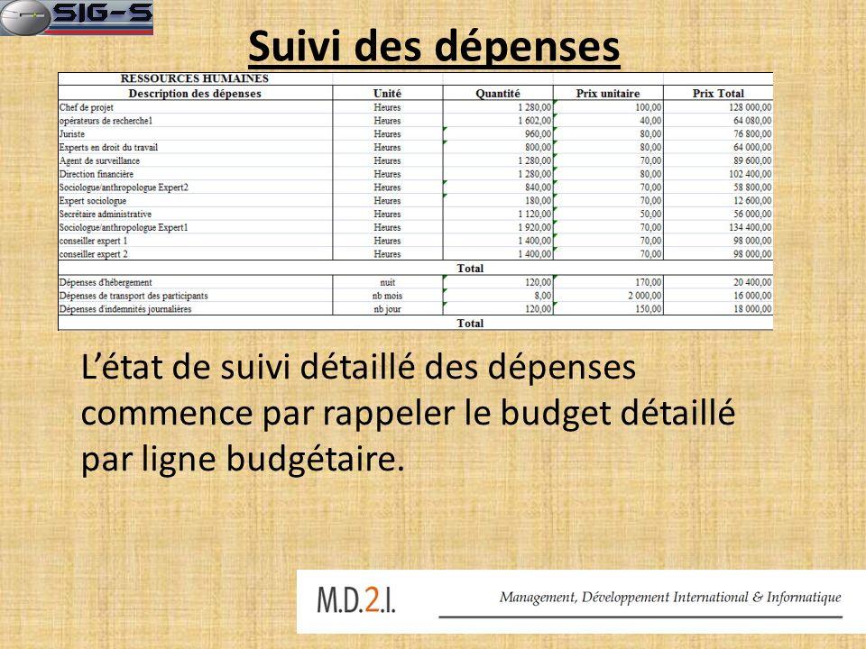 Suivi des dépenses Létat de suivi détaillé des dépenses commence par rappeler le budget détaillé par ligne budgétaire.