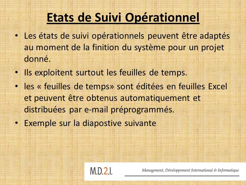 Etats de Suivi Opérationnel Les états de suivi opérationnels peuvent être adaptés au moment de la finition du système pour un projet donné. Ils exploi