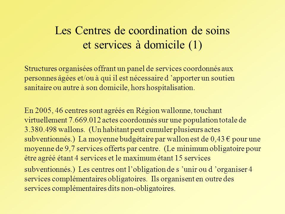 Les Centres de coordination de soins et services à domicile (1) Structures organisées offrant un panel de services coordonnés aux personnes âgées et/ou à qui il est nécessaire d apporter un soutien sanitaire ou autre à son domicile, hors hospitalisation.