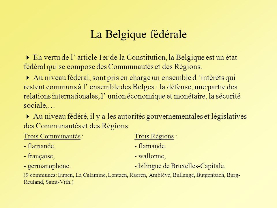 La Belgique fédérale En vertu de l article 1er de la Constitution, la Belgique est un état fédéral qui se compose des Communautés et des Régions.