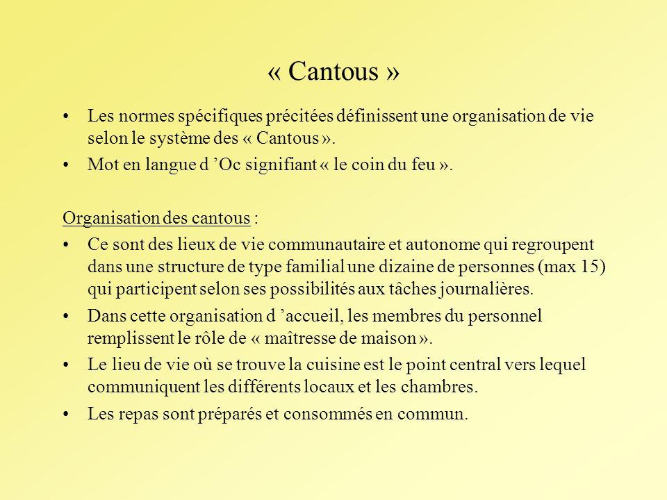 « Cantous » Les normes spécifiques précitées définissent une organisation de vie selon le système des « Cantous ».