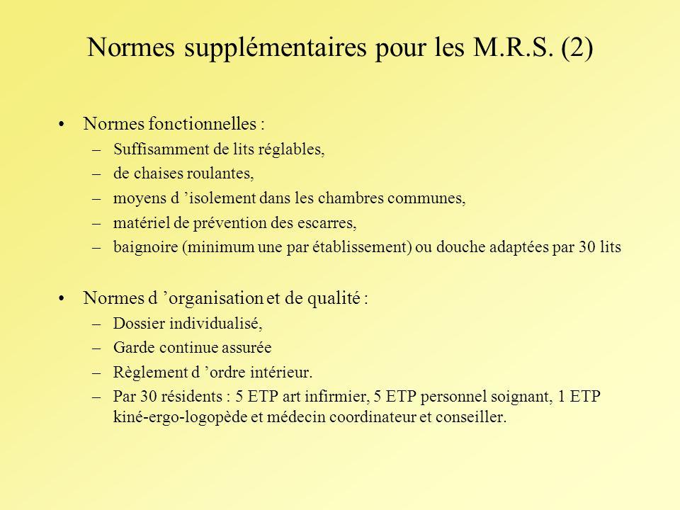 Normes supplémentaires pour les M.R.S.
