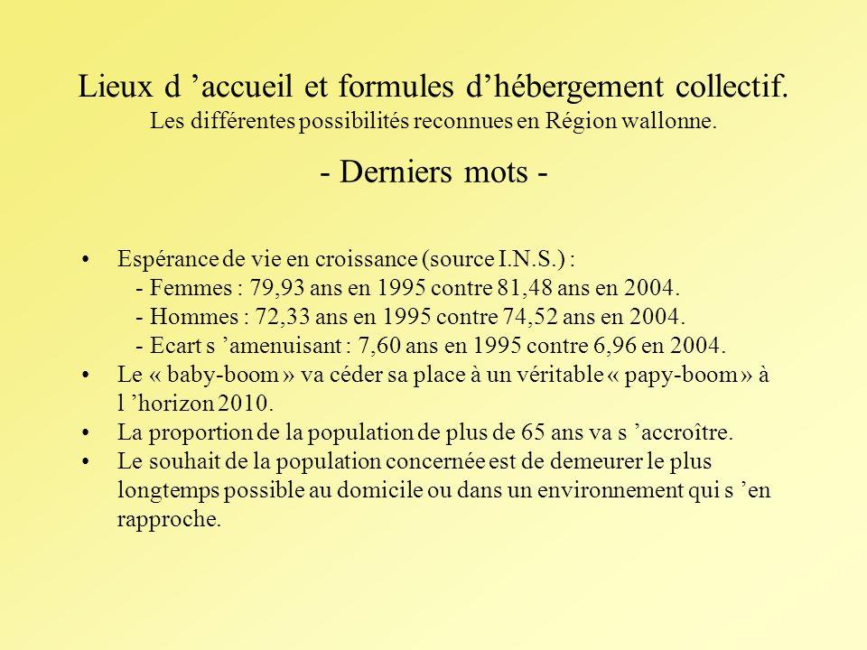 - Derniers mots - Espérance de vie en croissance (source I.N.S.) : - Femmes : 79,93 ans en 1995 contre 81,48 ans en 2004.