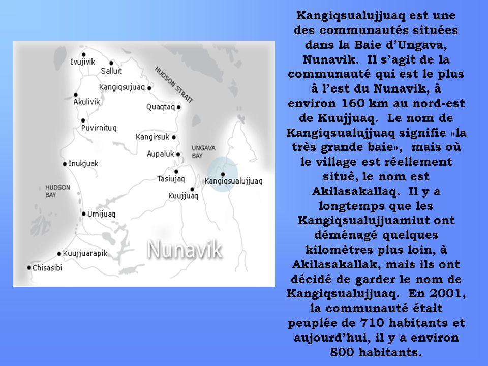 Kangiqsualujjuaq est une des communautés situées dans la Baie dUngava, Nunavik. Il sagit de la communauté qui est le plus à lest du Nunavik, à environ