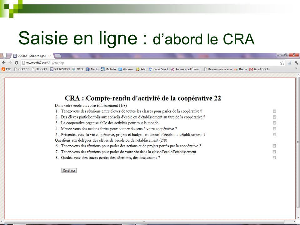 Saisie en ligne : dabord le CRA