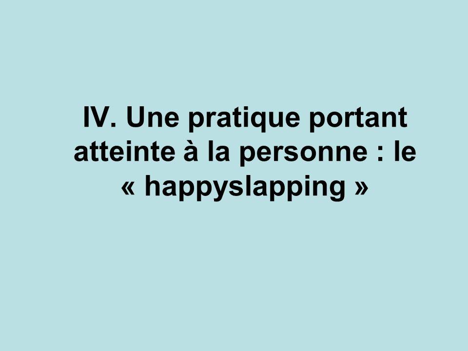IV. Une pratique portant atteinte à la personne : le « happyslapping »