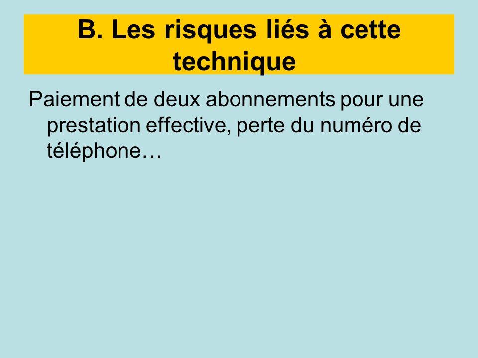 B. Les risques liés à cette technique Paiement de deux abonnements pour une prestation effective, perte du numéro de téléphone…