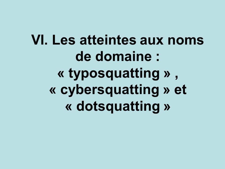 VI. Les atteintes aux noms de domaine : « typosquatting », « cybersquatting » et « dotsquatting »