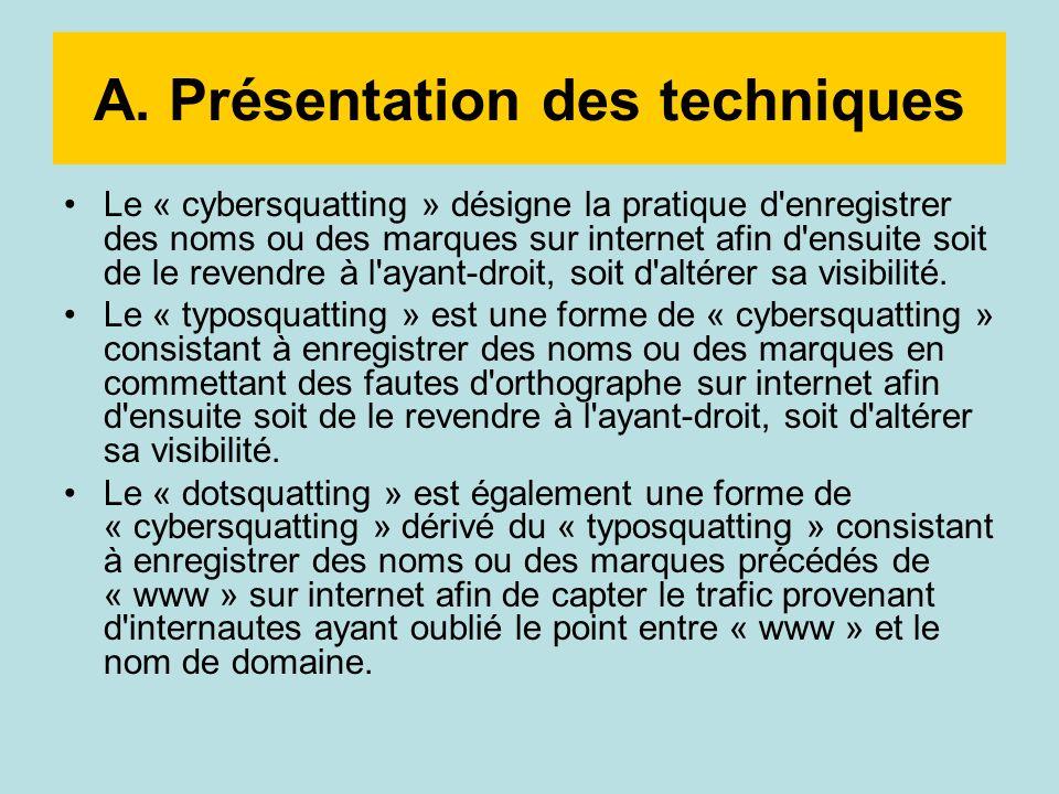 A. Présentation des techniques Le « cybersquatting » désigne la pratique d'enregistrer des noms ou des marques sur internet afin d'ensuite soit de le