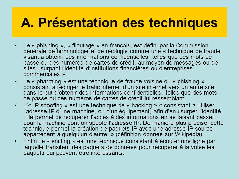A. Présentation des techniques Le « phishing », « filoutage » en français, est défini par la Commission générale de terminologie et de néologie comme