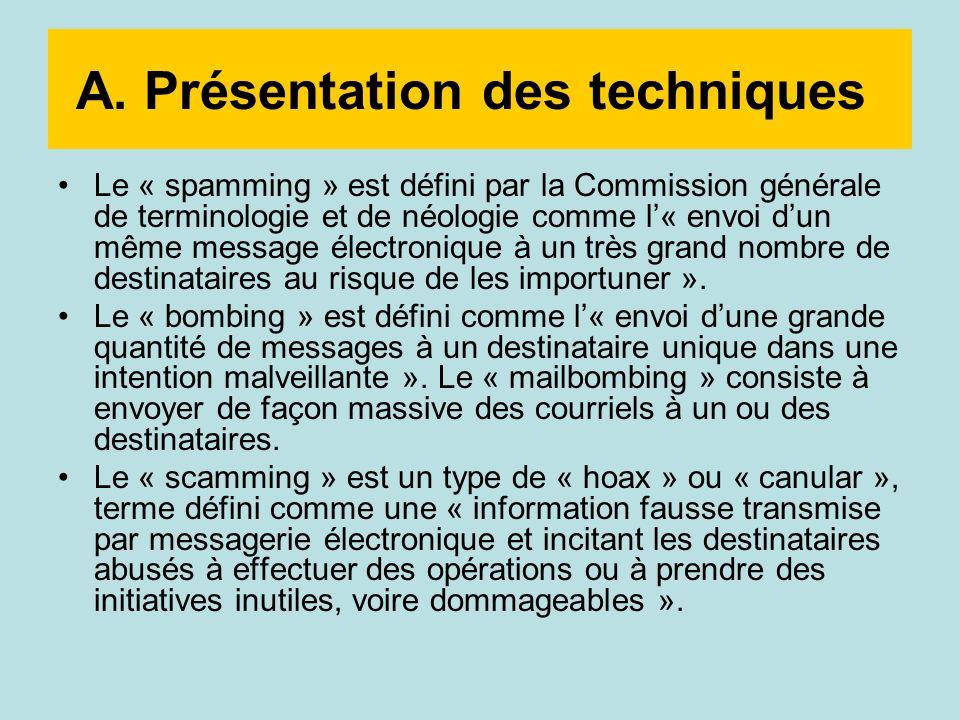 A. Présentation des techniques Le « spamming » est défini par la Commission générale de terminologie et de néologie comme l« envoi dun même message él