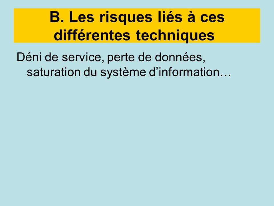 B. Les risques liés à ces différentes techniques Déni de service, perte de données, saturation du système dinformation…