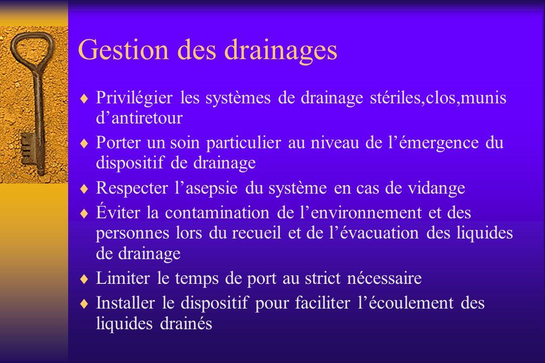 Gestion des drainages Privilégier les systèmes de drainage stériles,clos,munis dantiretour Porter un soin particulier au niveau de lémergence du dispo