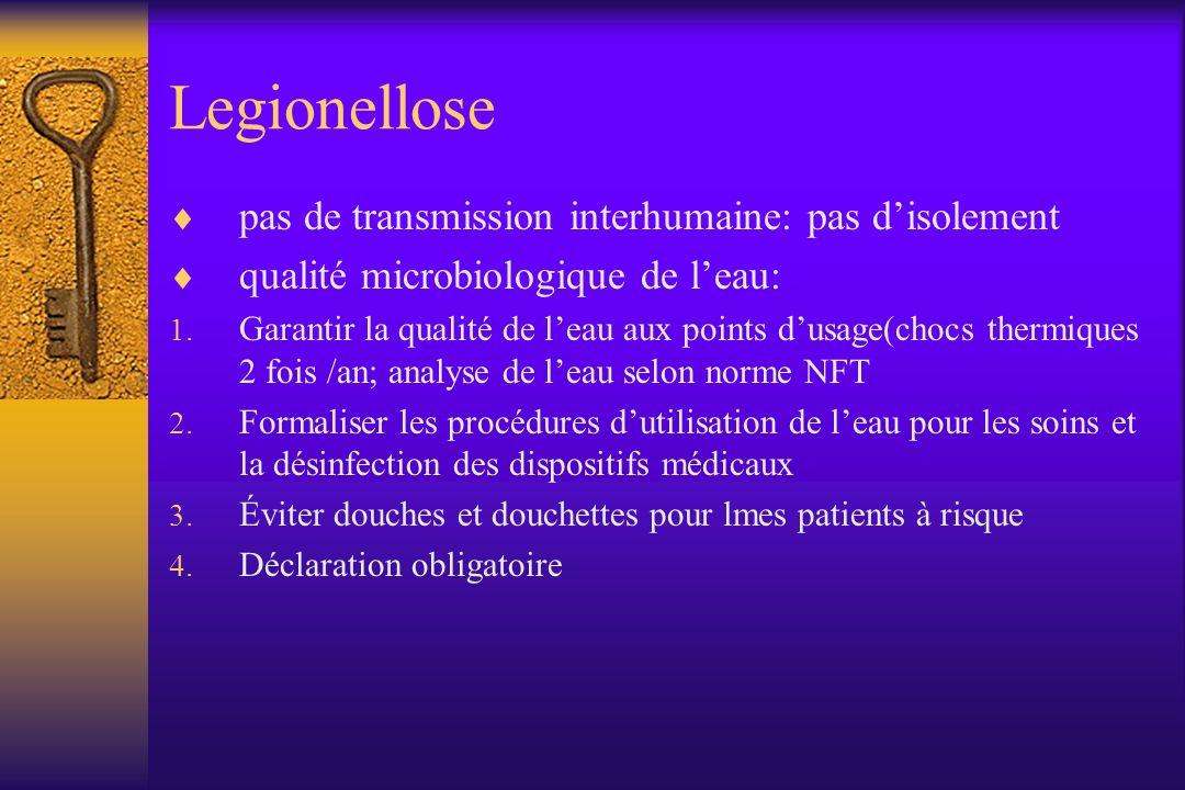 Legionellose pas de transmission interhumaine: pas disolement qualité microbiologique de leau: 1. Garantir la qualité de leau aux points dusage(chocs