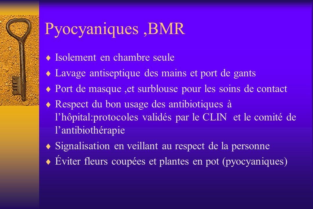Pyocyaniques,BMR Isolement en chambre seule Lavage antiseptique des mains et port de gants Port de masque,et surblouse pour les soins de contact Respe