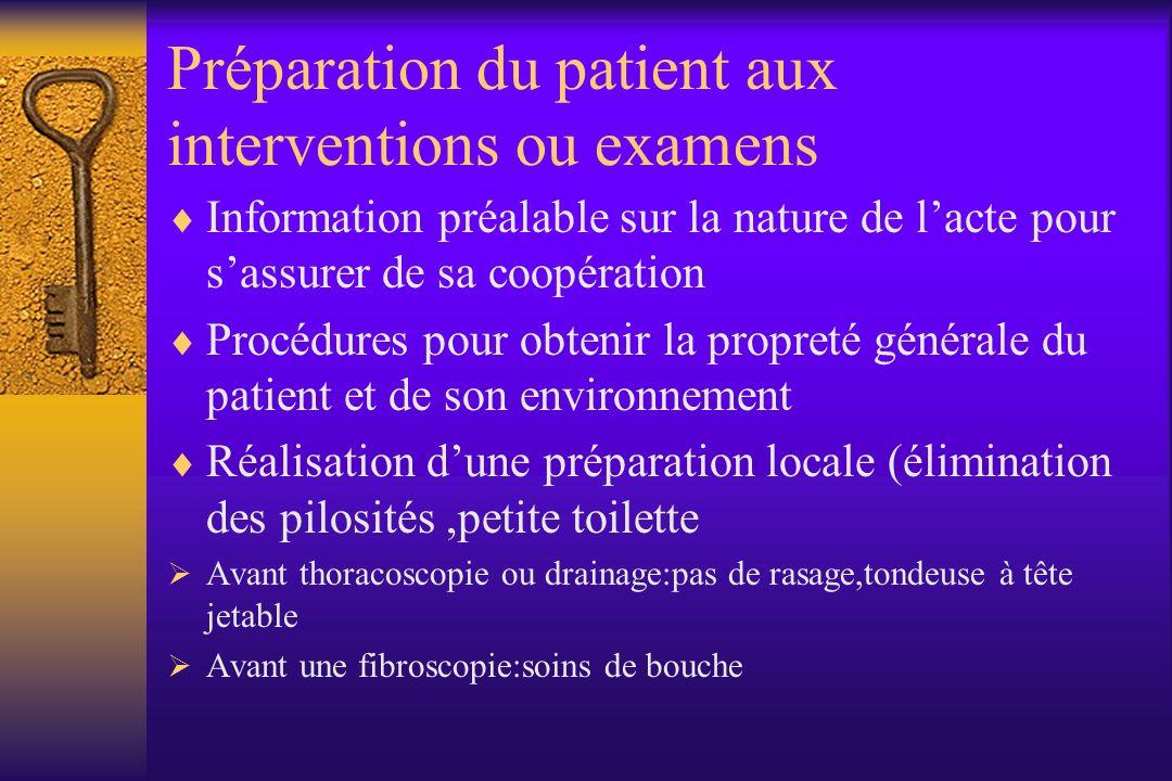 Préparation du patient aux interventions ou examens Information préalable sur la nature de lacte pour sassurer de sa coopération Procédures pour obten
