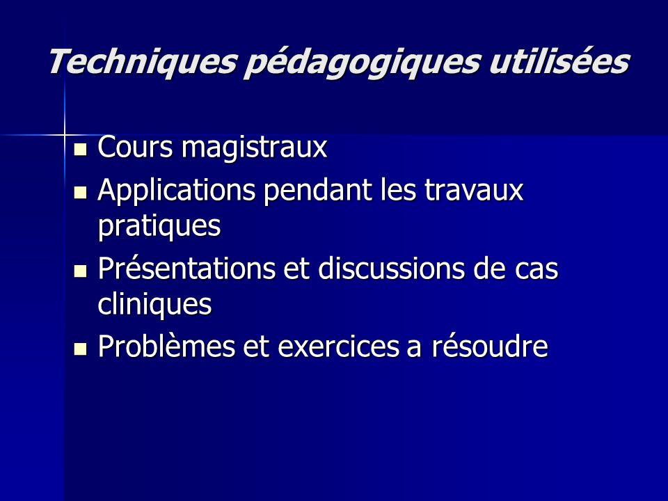 Techniques pédagogiques utilisées Cours magistraux Cours magistraux Applications pendant les travaux pratiques Applications pendant les travaux pratiq
