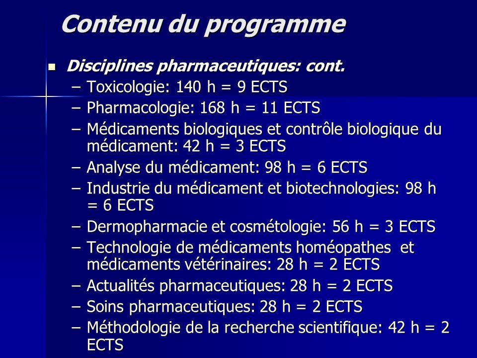 Contenu du programme Disciplines socio administratives: 210 h (4,31%) Disciplines socio administratives: 210 h (4,31%) –Législation et management pharmaceutique: 98 h = 4 ECTS –Marketing: 28 h = 2 ECTS –Langues modernes: 84 h = 4 ECTS