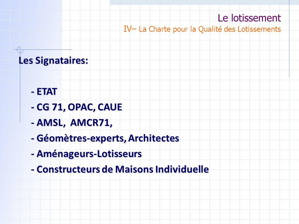 Le lotissement IV– La Charte pour la Qualité des Lotissements Les Signataires: - ETAT - CG 71, OPAC, CAUE - AMSL, AMCR71, - Géomètres-experts, Architectes - Aménageurs-Lotisseurs - Constructeurs de Maisons Individuelle