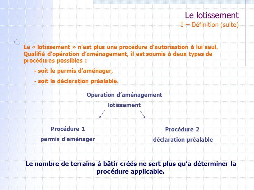 LOTISSEMENT III – LE PERMIS DAMENAGER