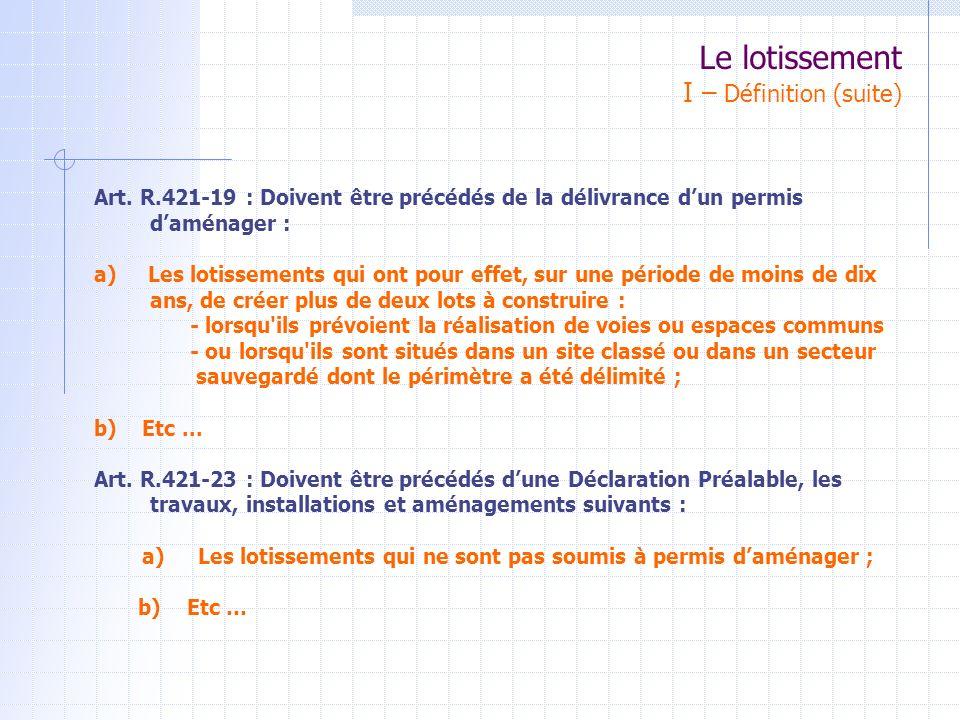 Art. R.421-19 : Doivent être précédés de la délivrance dun permis daménager : a) Les lotissements qui ont pour effet, sur une période de moins de dix