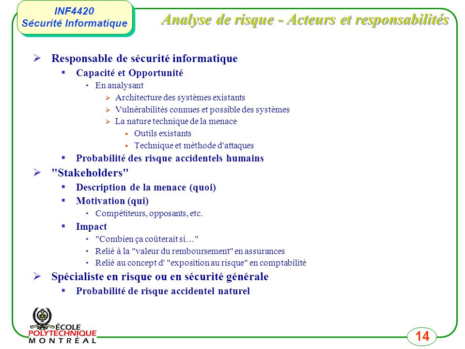 INF4420 Sécurité Informatique INF4420 Sécurité Informatique 14 Analyse de risque - Acteurs et responsabilités Responsable de sécurité informatique Cap
