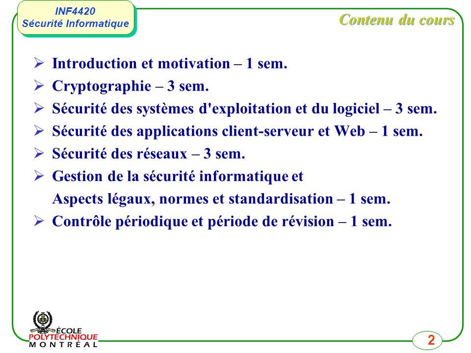 INF4420 Sécurité Informatique INF4420 Sécurité Informatique 2 Contenu du cours Introduction et motivation – 1 sem. Cryptographie – 3 sem. Sécurité des
