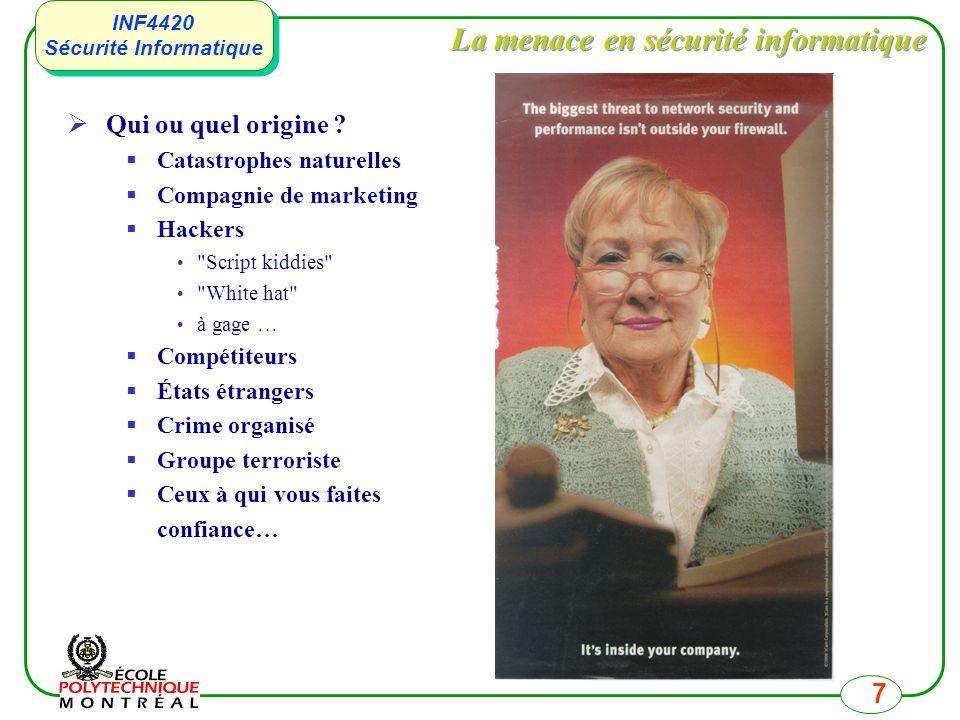 INF4420 Sécurité Informatique INF4420 Sécurité Informatique 7 La menace en sécurité informatique Qui ou quel origine ? Catastrophes naturelles Compagn