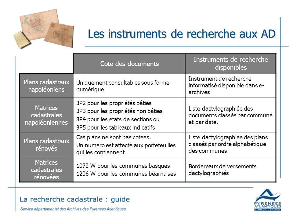 Les instruments de recherche aux AD Cote des documents Instruments de recherche disponibles Plans cadastraux napoléoniens Uniquement consultables sous