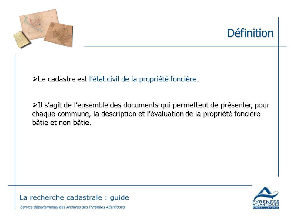 Origines Le cadastre dit « napoléonien » est mis en place par la loi du 15 septembre 1807.