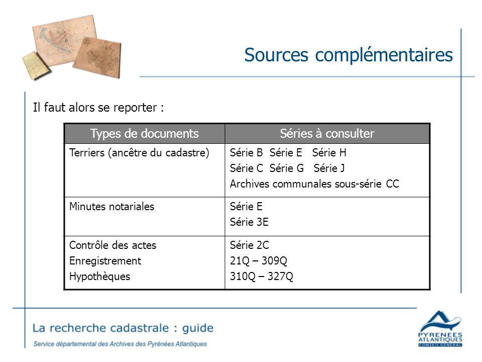 Sources complémentaires Il faut alors se reporter : Types de documentsSéries à consulter Terriers (ancêtre du cadastre)Série B Série E Série H Série C