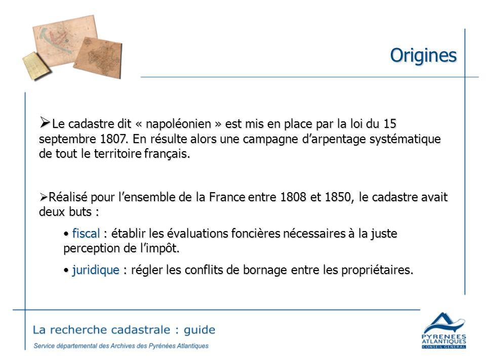 Origines Le cadastre dit « napoléonien » est mis en place par la loi du 15 septembre 1807. En résulte alors une campagne darpentage systématique de to