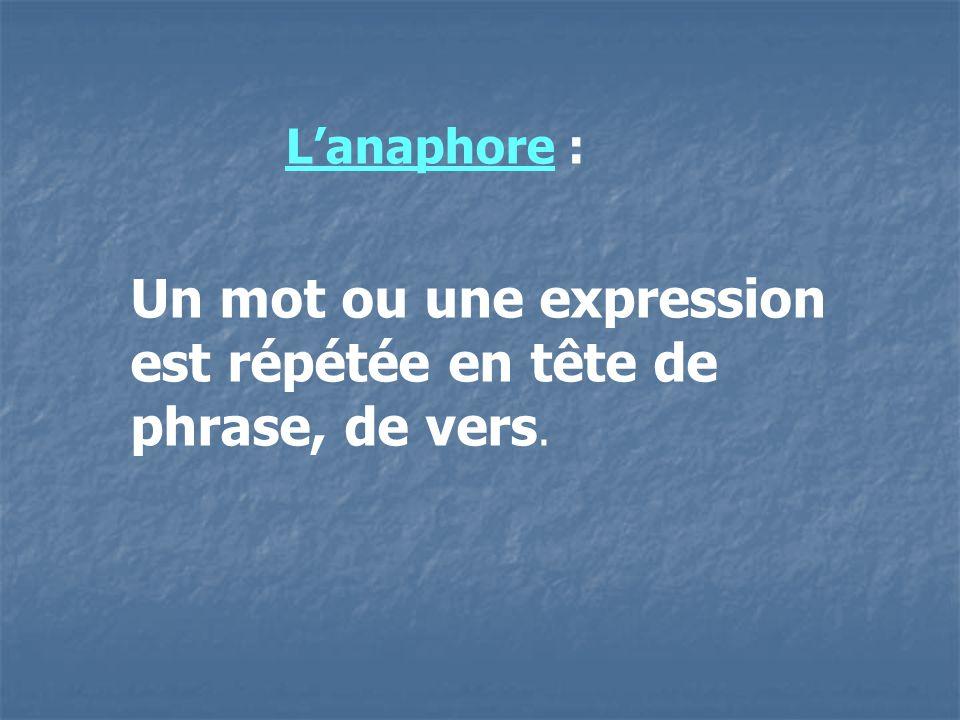 Un mot ou une expression est répétée en tête de phrase, de vers. Lanaphore :