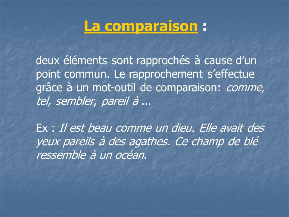 deux éléments sont rapprochés à cause dun point commun. Le rapprochement seffectue grâce à un mot-outil de comparaison: comme, tel, sembler, pareil à.