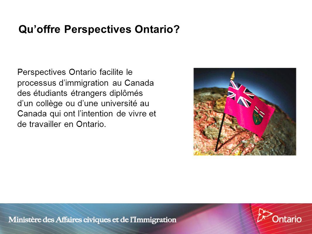 3 Quoffre Perspectives Ontario? Perspectives Ontario facilite le processus dimmigration au Canada des étudiants étrangers diplômés dun collège ou dune