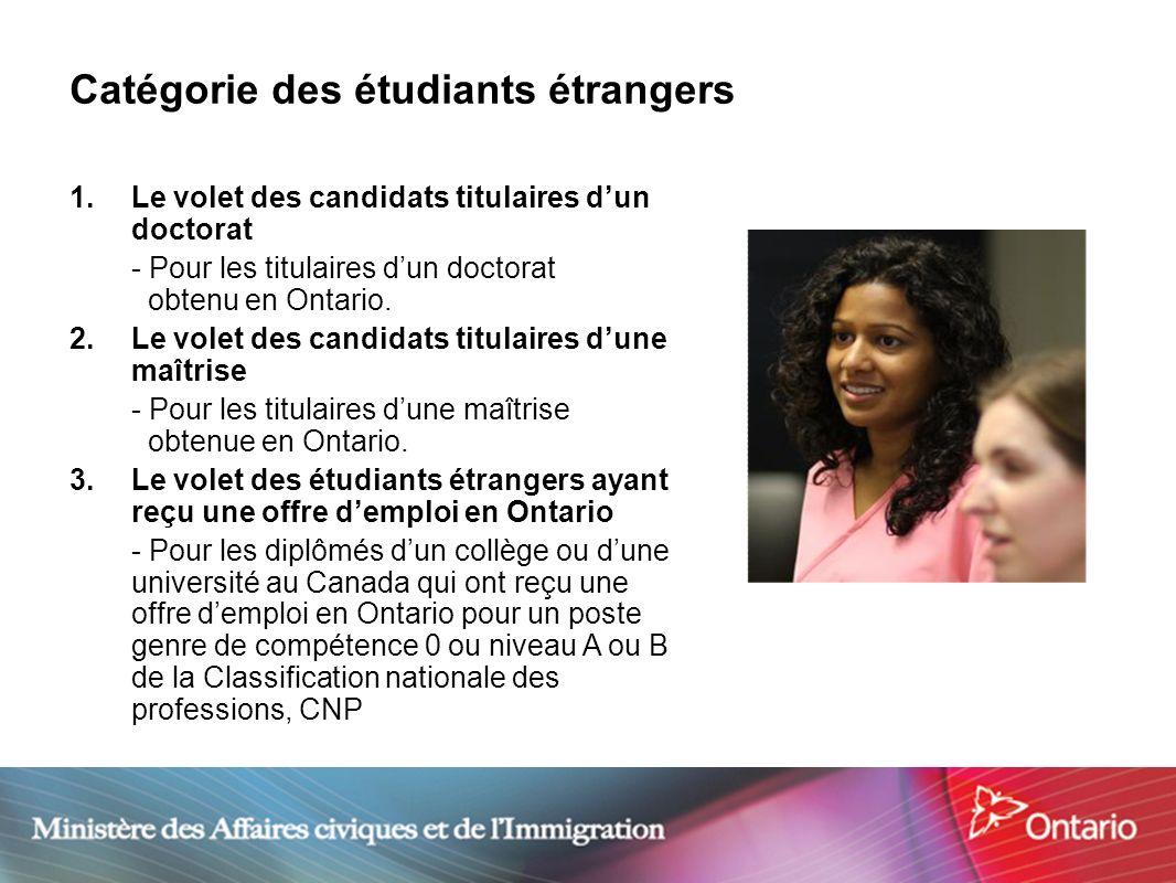 4 Catégorie des étudiants étrangers 1.Le volet des candidats titulaires dun doctorat - Pour les titulaires dun doctorat obtenu en Ontario. 2. Le volet