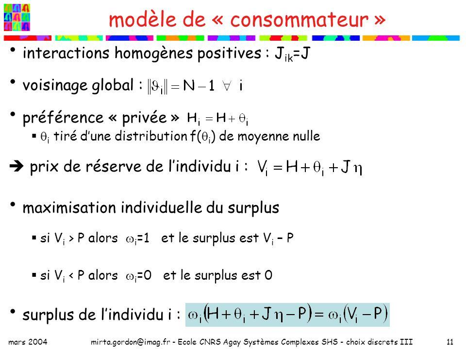 mars 2004mirta.gordon@imag.fr - Ecole CNRS Agay Systèmes Complexes SHS - choix discrets III11 modèle de « consommateur » interactions homogènes positives : J ik =J voisinage global : préférence « privée » i tiré dune distribution f( i ) de moyenne nulle prix de réserve de lindividu i : maximisation individuelle du surplus si V i > P alors i =1 et le surplus est V i – P si V i < P alors i =0 et le surplus est 0 surplus de lindividu i :