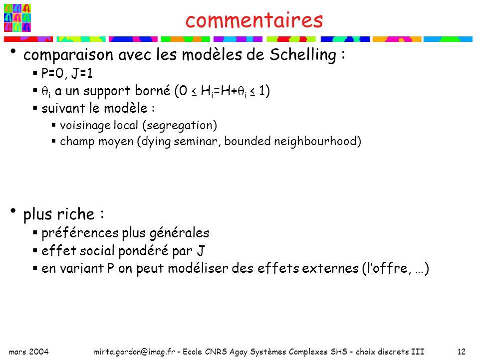 mars 2004mirta.gordon@imag.fr - Ecole CNRS Agay Systèmes Complexes SHS - choix discrets III12 commentaires comparaison avec les modèles de Schelling : P=0, J=1 i a un support borné (0 H i =H+ i 1) suivant le modèle : voisinage local (segregation) champ moyen (dying seminar, bounded neighbourhood) plus riche : préférences plus générales effet social pondéré par J en variant P on peut modéliser des effets externes (loffre, …)