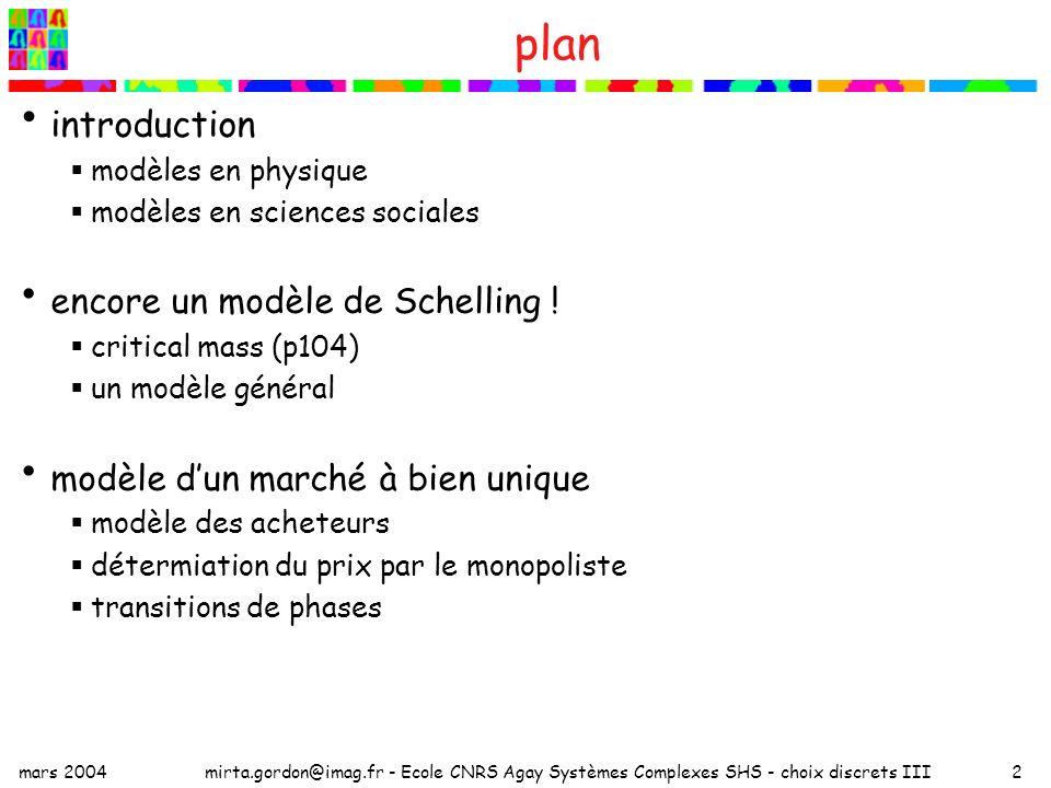 mars 2004mirta.gordon@imag.fr - Ecole CNRS Agay Systèmes Complexes SHS - choix discrets III2 plan introduction modèles en physique modèles en sciences sociales encore un modèle de Schelling .