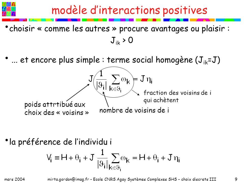 mars 2004mirta.gordon@imag.fr - Ecole CNRS Agay Systèmes Complexes SHS - choix discrets III9 choisir « comme les autres » procure avantages ou plaisir : J ik > 0...