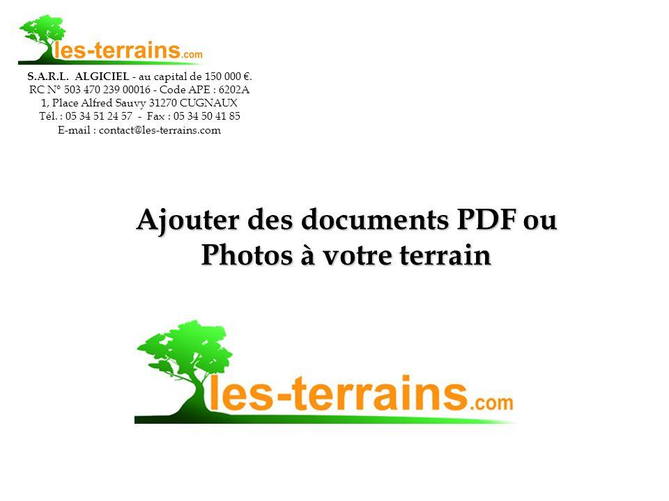 Ajouter des documents PDF ou Photos à votre terrain S.A.R.L.