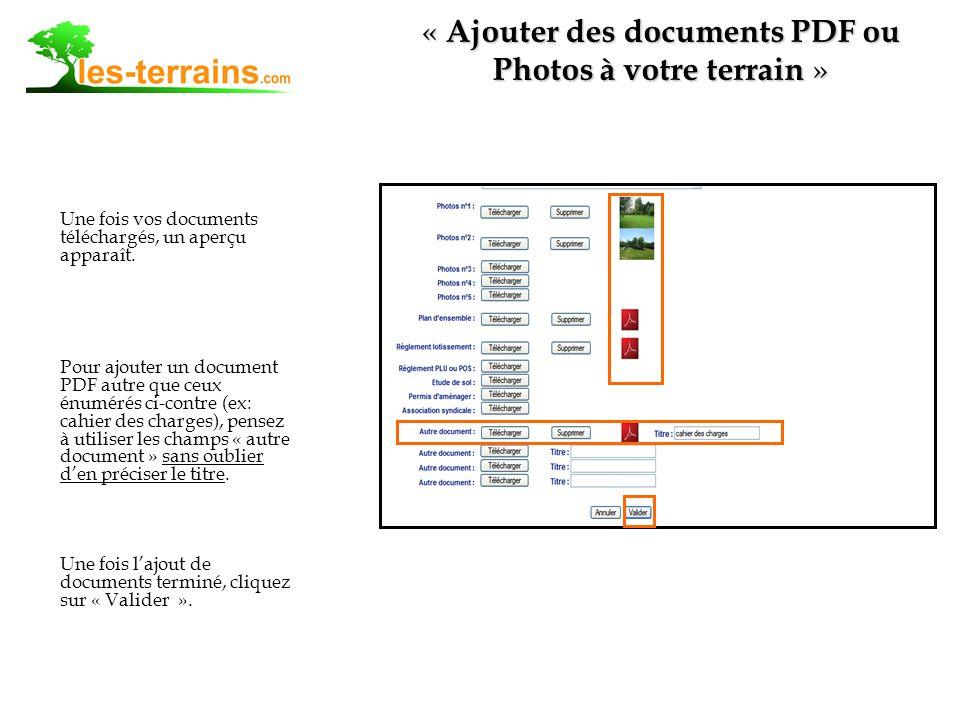 Une fois vos documents téléchargés, un aperçu apparaît.