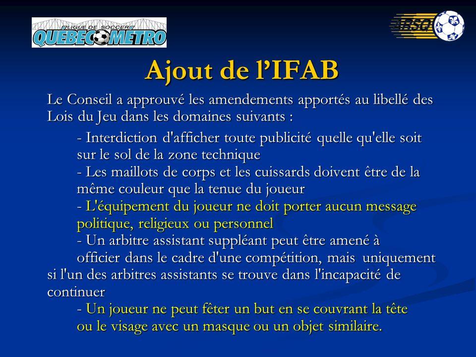 Ajout de lIFAB Le Conseil a approuvé les amendements apportés au libellé des Lois du Jeu dans les domaines suivants : - Interdiction d'afficher toute