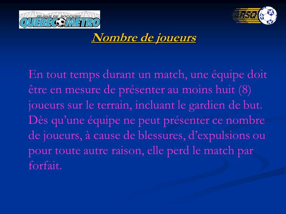 Nombre de joueurs En tout temps durant un match, une équipe doit être en mesure de présenter au moins huit (8) joueurs sur le terrain, incluant le gardien de but.