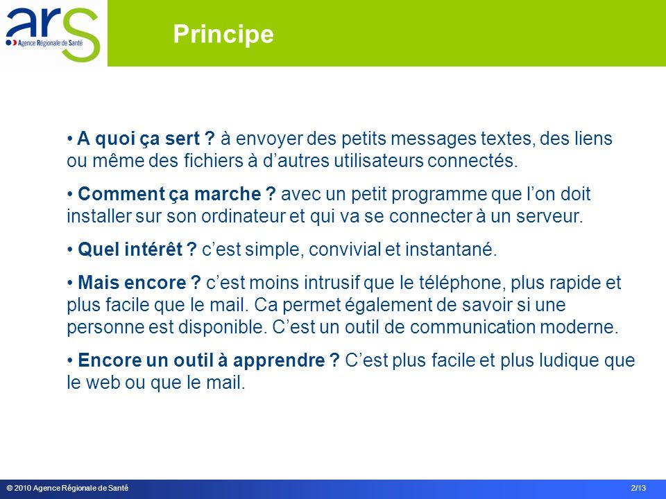 © 2010 Agence Régionale de Santé 2/13 A quoi ça sert ? à envoyer des petits messages textes, des liens ou même des fichiers à dautres utilisateurs con